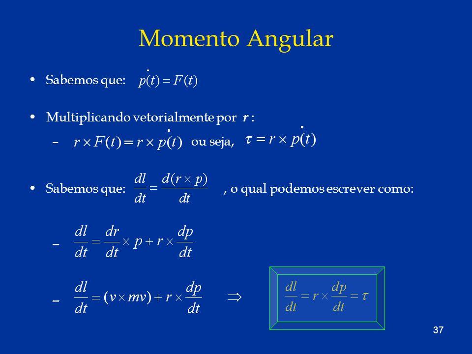 Momento Angular Sabemos que: . Multiplicando vetorialmente por r :
