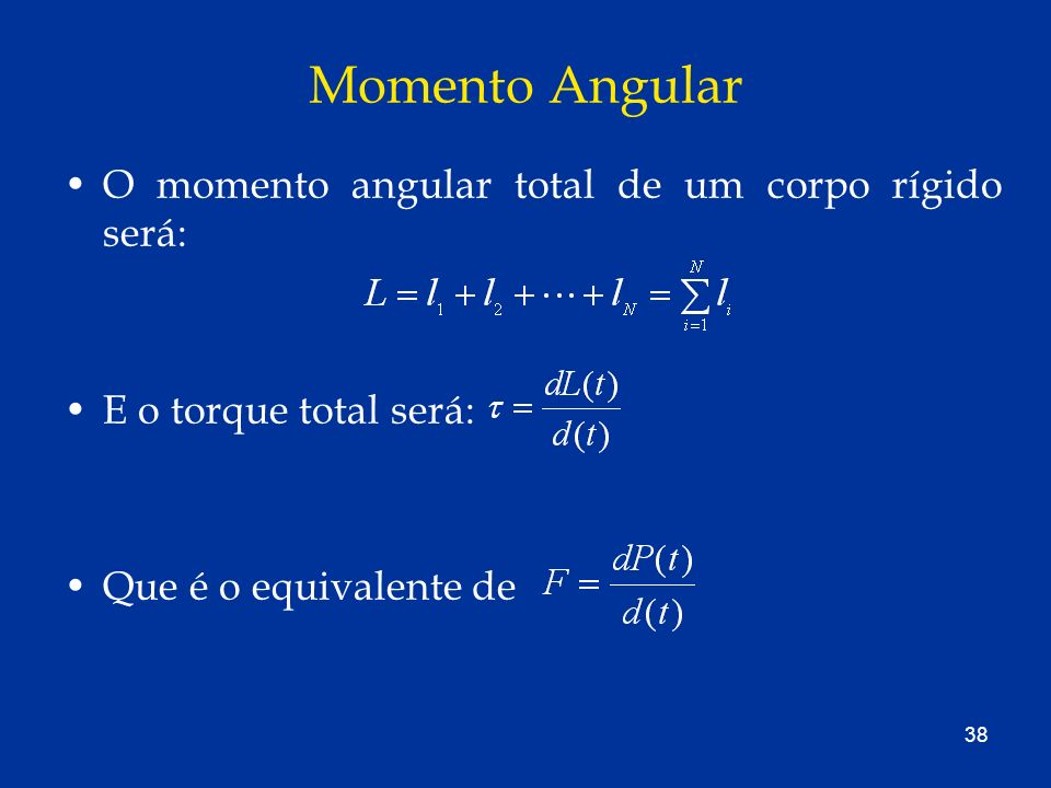 Momento Angular O momento angular total de um corpo rígido será: