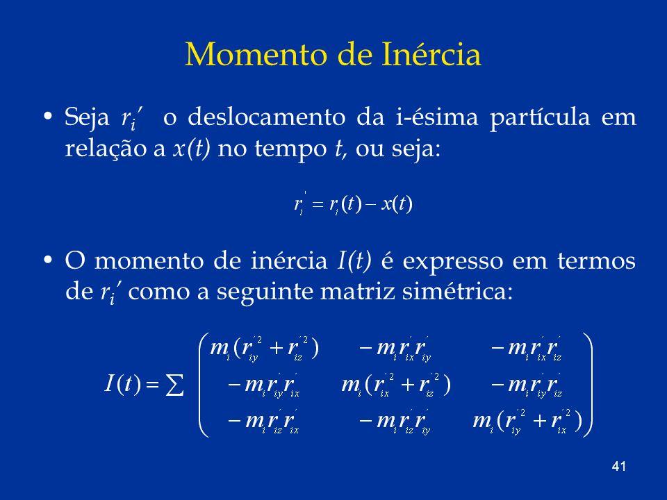 Momento de Inércia Seja ri' o deslocamento da i-ésima partícula em relação a x(t) no tempo t, ou seja: