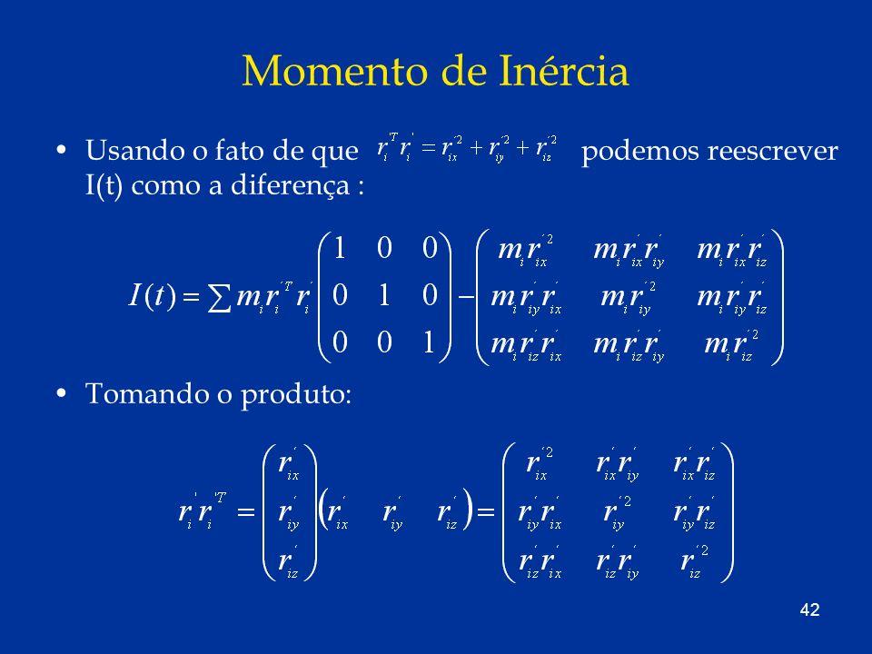 Momento de Inércia Usando o fato de que podemos reescrever I(t) como a diferença :