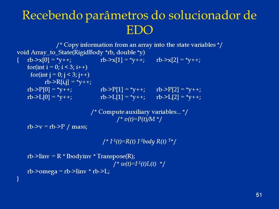 Recebendo parâmetros do solucionador de EDO