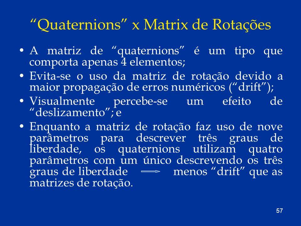 Quaternions x Matrix de Rotações