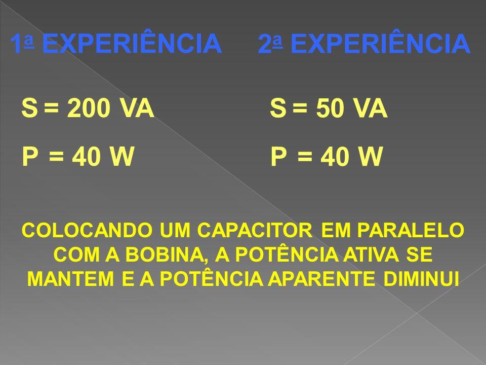 1a EXPERIÊNCIA 2a EXPERIÊNCIA S = 200 VA S = 50 VA P = 40 W P = 40 W