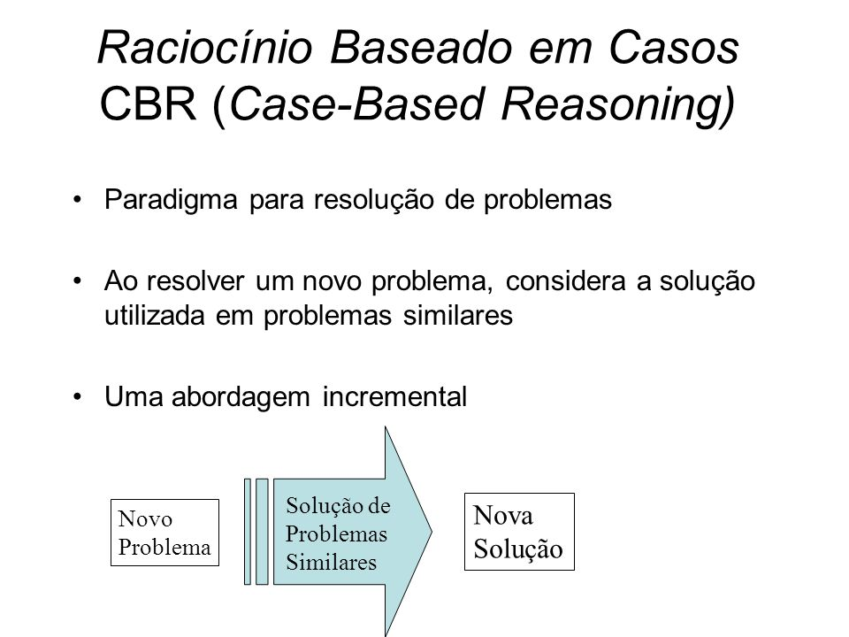 Raciocínio Baseado em Casos CBR (Case-Based Reasoning)