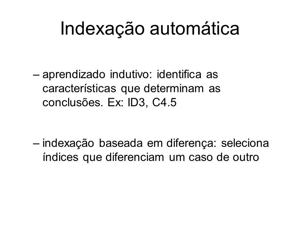 Indexação automática aprendizado indutivo: identifica as características que determinam as conclusões. Ex: ID3, C4.5.