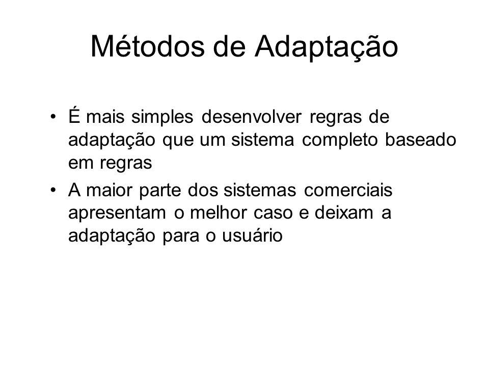 Métodos de Adaptação É mais simples desenvolver regras de adaptação que um sistema completo baseado em regras.