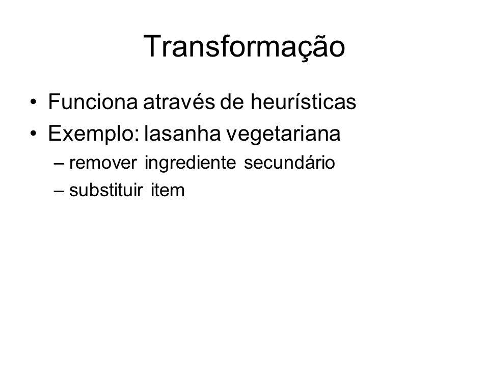 Transformação Funciona através de heurísticas