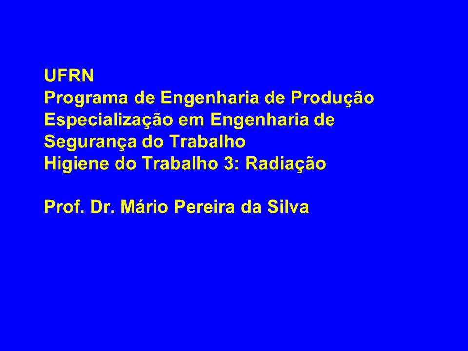 UFRN Programa de Engenharia de Produção Especialização em Engenharia de Segurança do Trabalho Higiene do Trabalho 3: Radiação Prof.