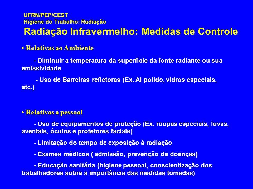 UFRN/PEP/CEST Higiene do Trabalho: Radiação Radiação Infravermelho: Medidas de Controle