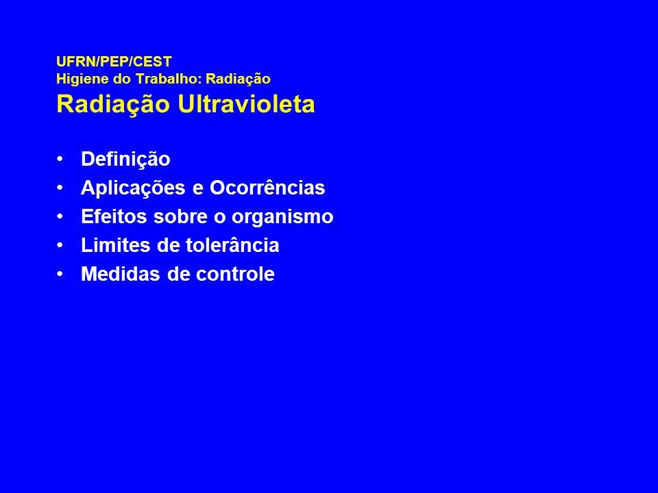 UFRN/PEP/CEST Higiene do Trabalho: Radiação Radiação Ultravioleta