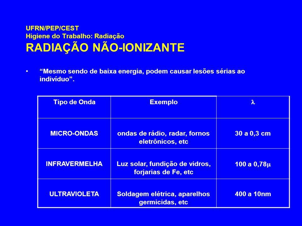 UFRN/PEP/CEST Higiene do Trabalho: Radiação RADIAÇÃO NÃO-IONIZANTE