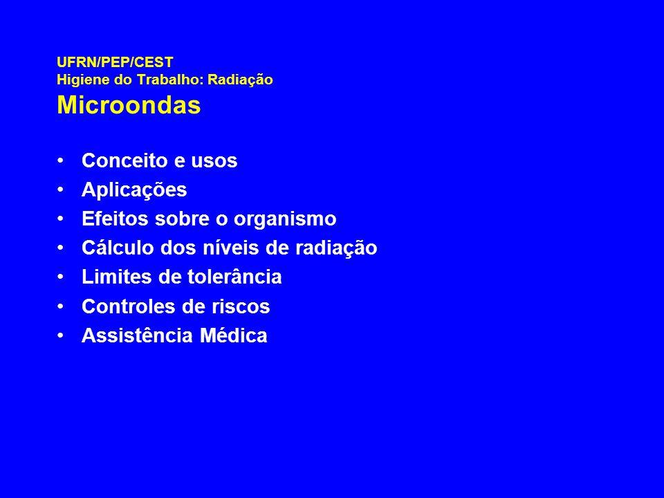 UFRN/PEP/CEST Higiene do Trabalho: Radiação Microondas