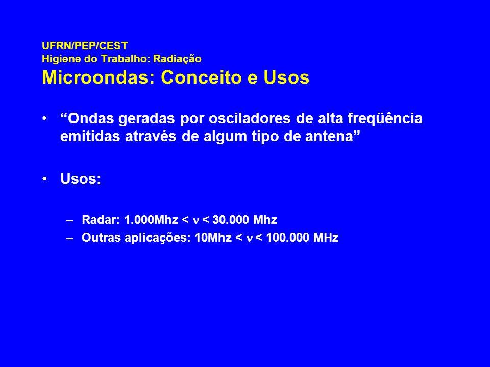UFRN/PEP/CEST Higiene do Trabalho: Radiação Microondas: Conceito e Usos