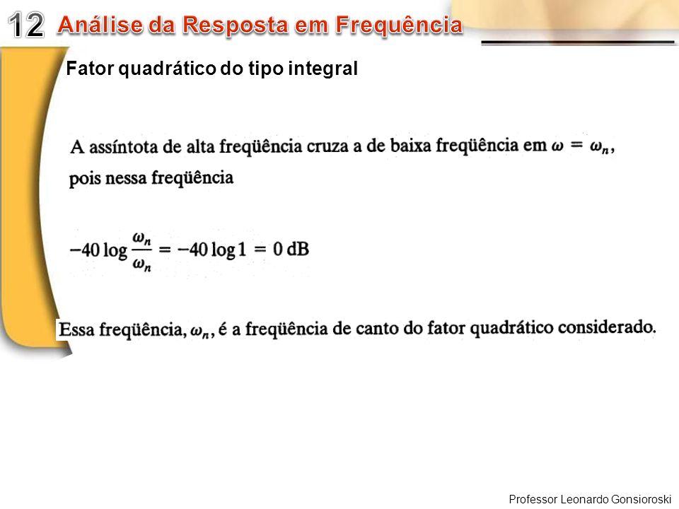 12 Análise da Resposta em Frequência Fator quadrático do tipo integral