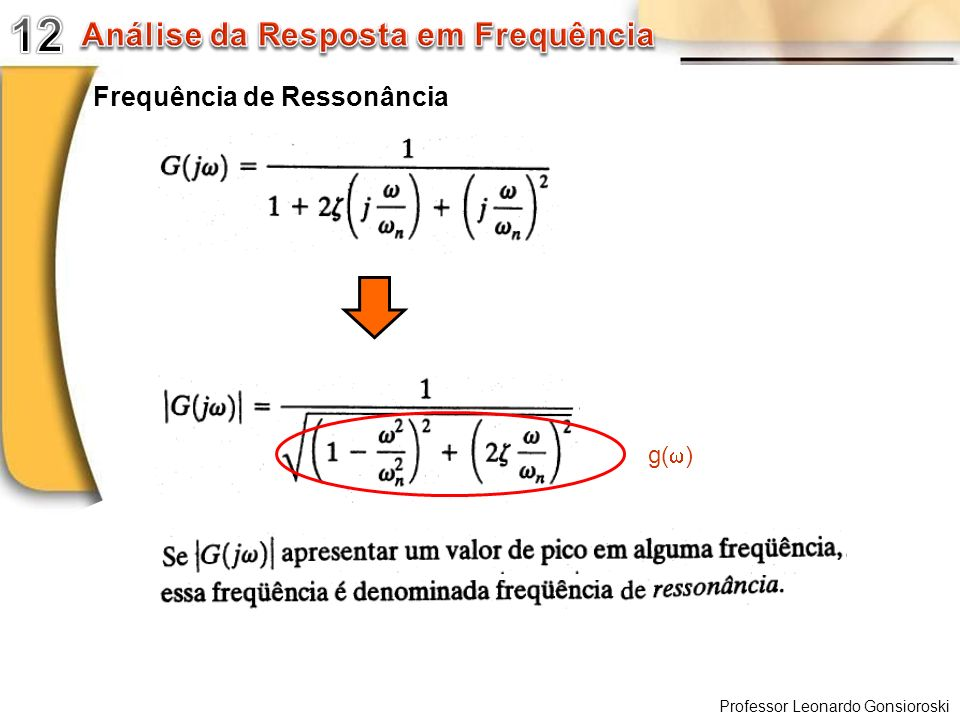 12 Análise da Resposta em Frequência Frequência de Ressonância g(w)