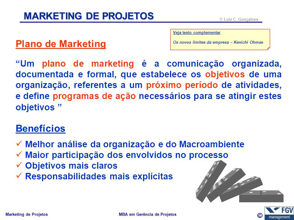 MARKETING DE PROJETOS Plano de Marketing Benefícios