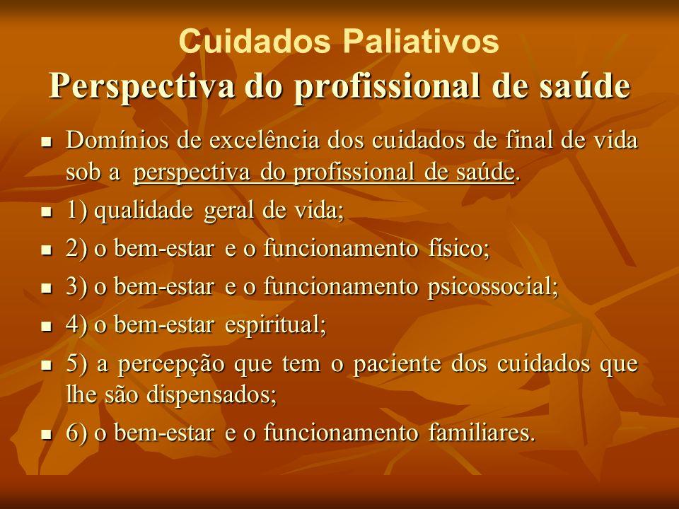 Cuidados Paliativos Perspectiva do profissional de saúde