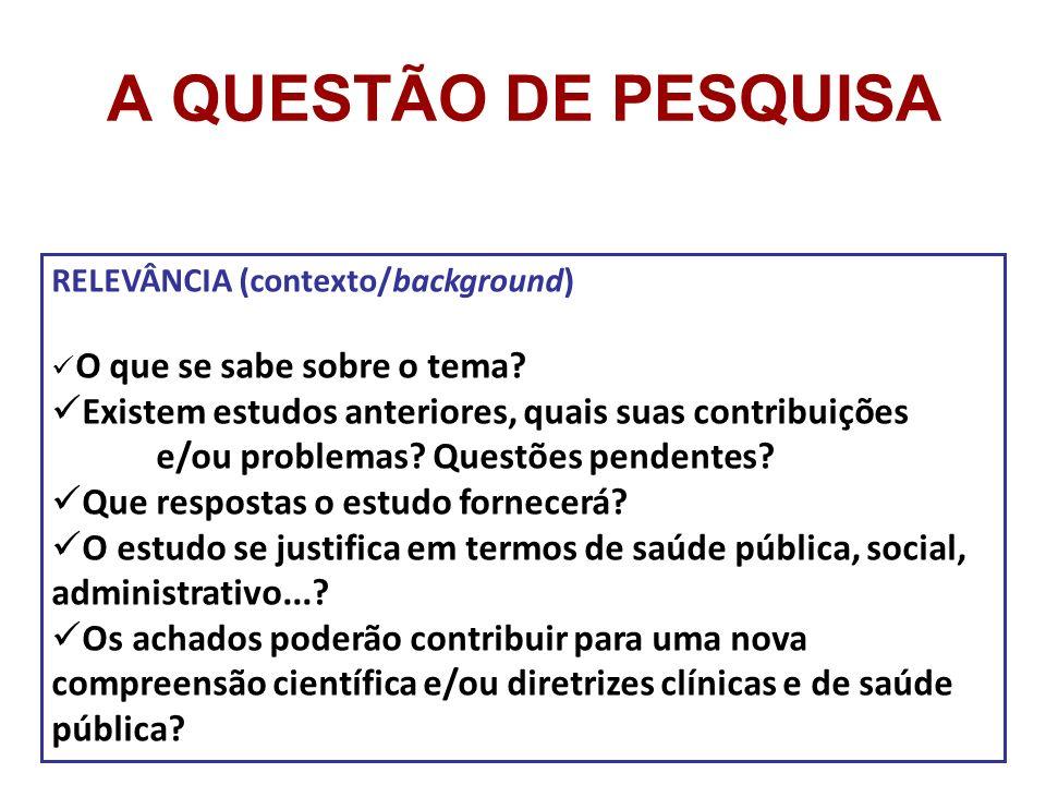 A QUESTÃO DE PESQUISA RELEVÂNCIA (contexto/background) O que se sabe sobre o tema