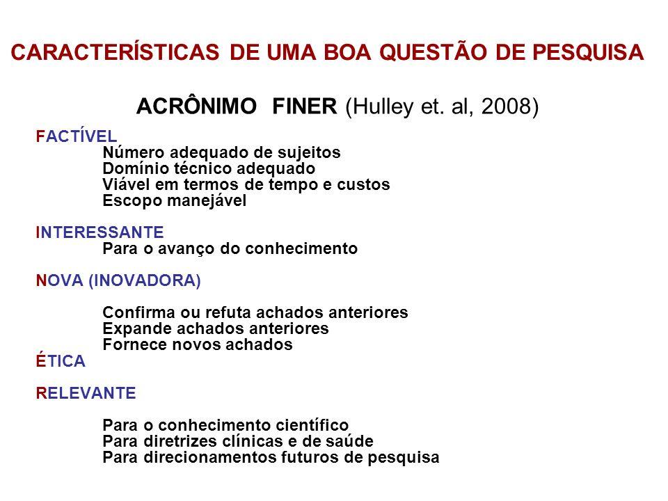 CARACTERÍSTICAS DE UMA BOA QUESTÃO DE PESQUISA