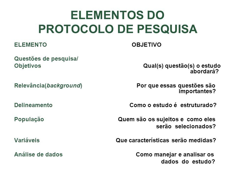 ELEMENTOS DO PROTOCOLO DE PESQUISA