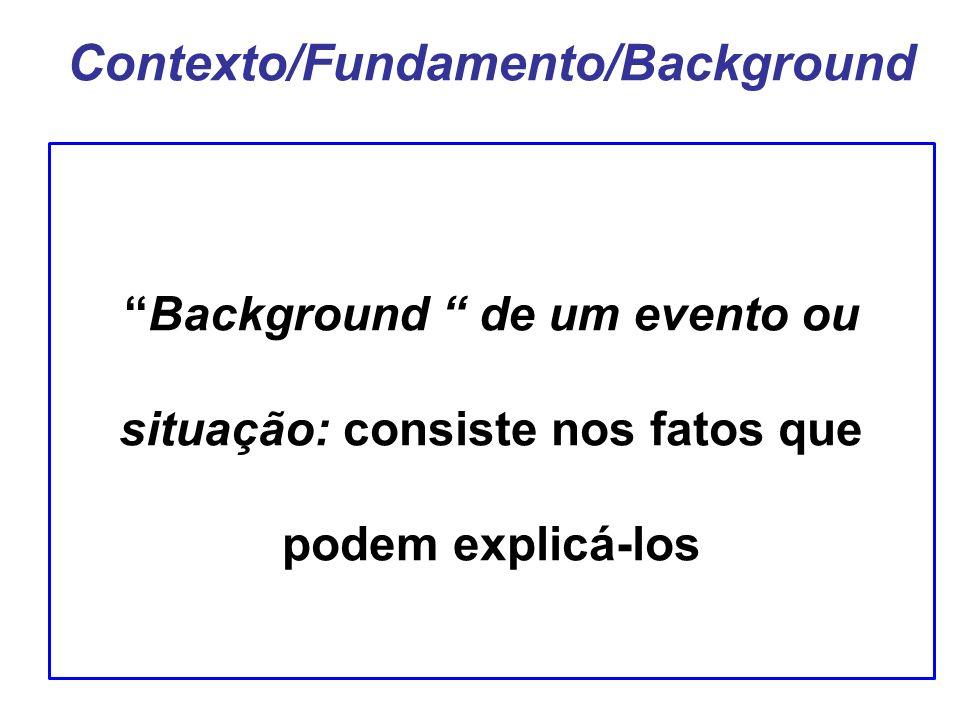 Contexto/Fundamento/Background Background de um evento ou situação: consiste nos fatos que podem explicá-los