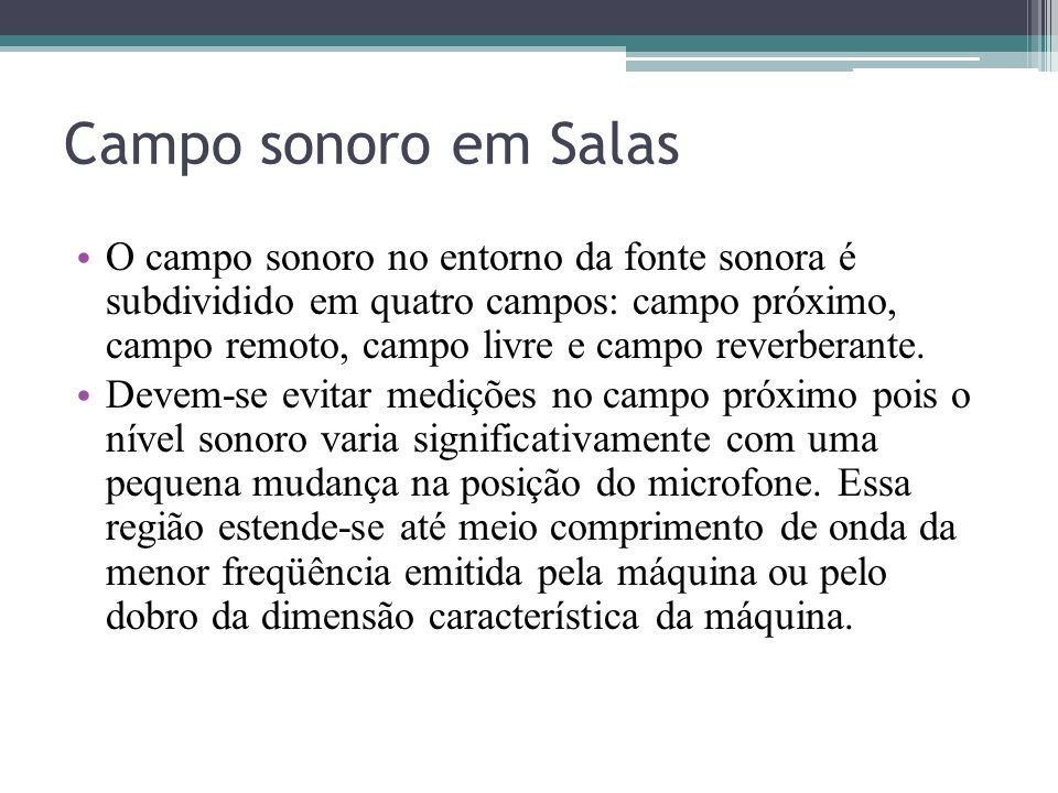 Campo sonoro em Salas