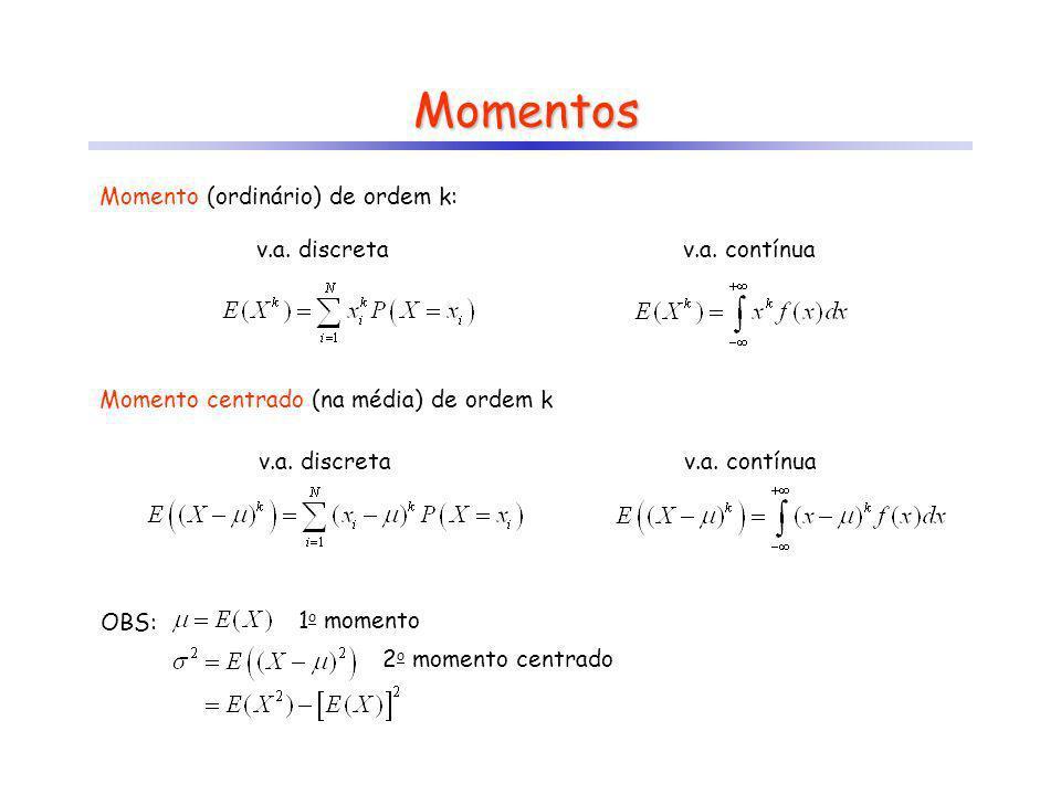 Momentos v.a. discreta v.a. contínua Momento (ordinário) de ordem k: