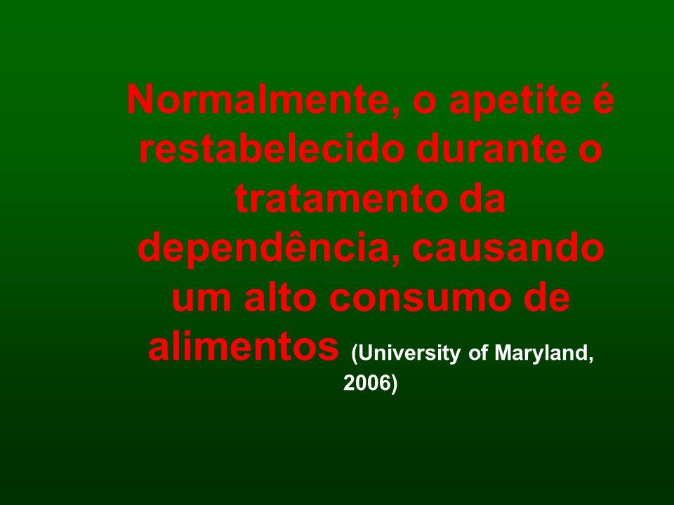 Normalmente, o apetite é restabelecido durante o tratamento da dependência, causando um alto consumo de alimentos (University of Maryland, 2006)