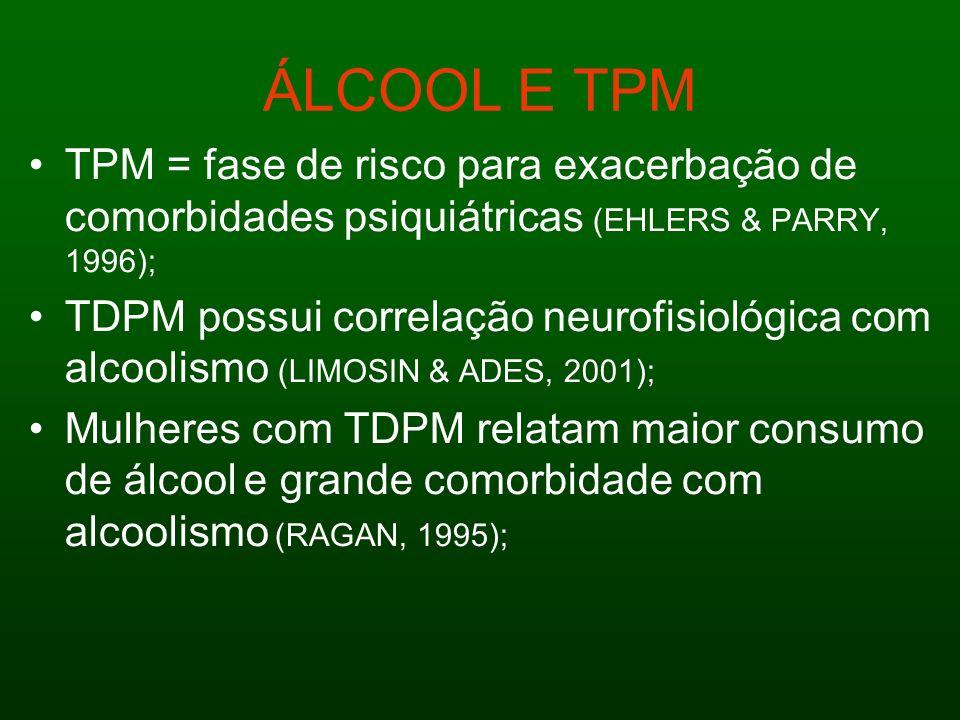 ÁLCOOL E TPM TPM = fase de risco para exacerbação de comorbidades psiquiátricas (EHLERS & PARRY, 1996);