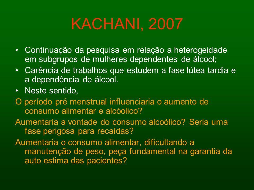 KACHANI, 2007 Continuação da pesquisa em relação a heterogeidade em subgrupos de mulheres dependentes de álcool;