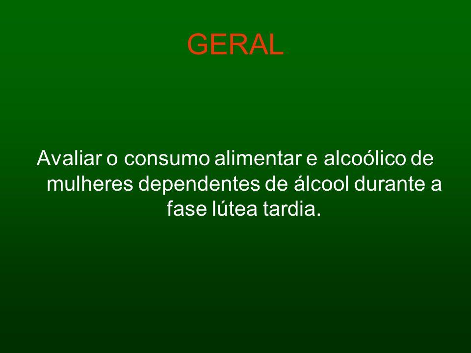 GERALAvaliar o consumo alimentar e alcoólico de mulheres dependentes de álcool durante a fase lútea tardia.