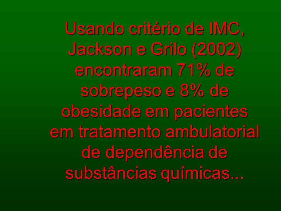 Usando critério de IMC, Jackson e Grilo (2002) encontraram 71% de sobrepeso e 8% de obesidade em pacientes em tratamento ambulatorial de dependência de substâncias químicas...
