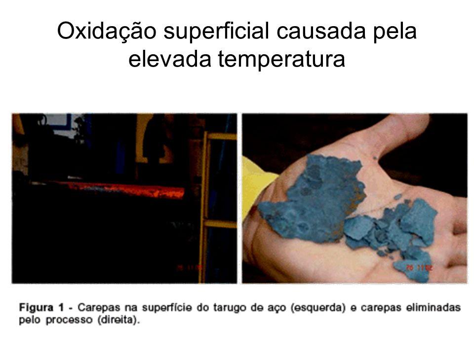 Oxidação superficial causada pela elevada temperatura