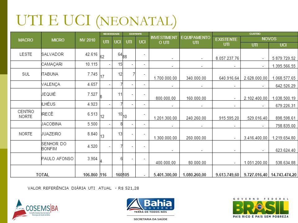 UTI E UCI (NEONATAL) MACRO MICRO NV 2010 INVESTIMENTO UTI