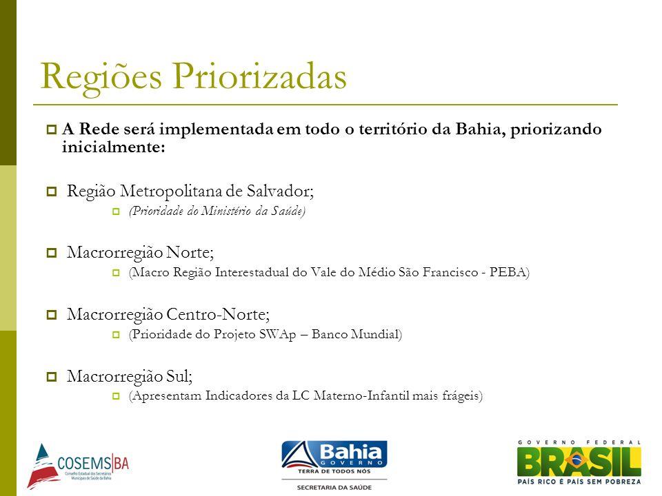 Regiões Priorizadas A Rede será implementada em todo o território da Bahia, priorizando inicialmente: