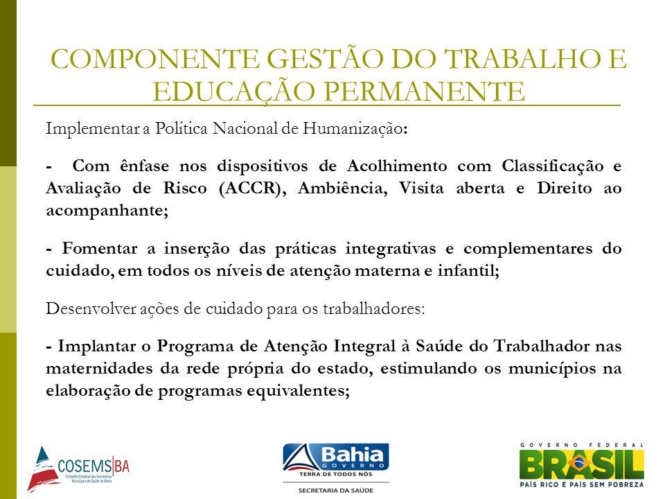 COMPONENTE GESTÃO DO TRABALHO E EDUCAÇÃO PERMANENTE