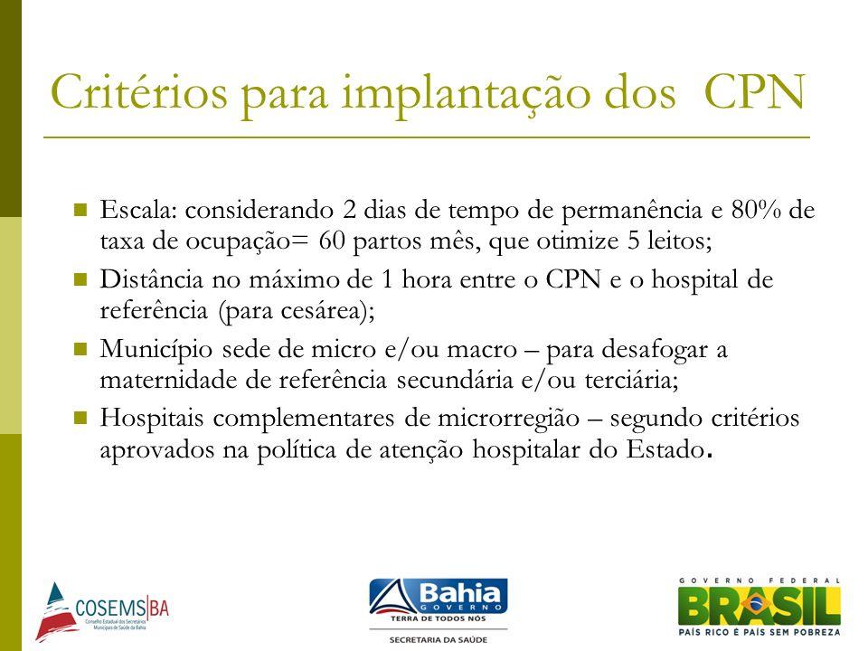 Critérios para implantação dos CPN