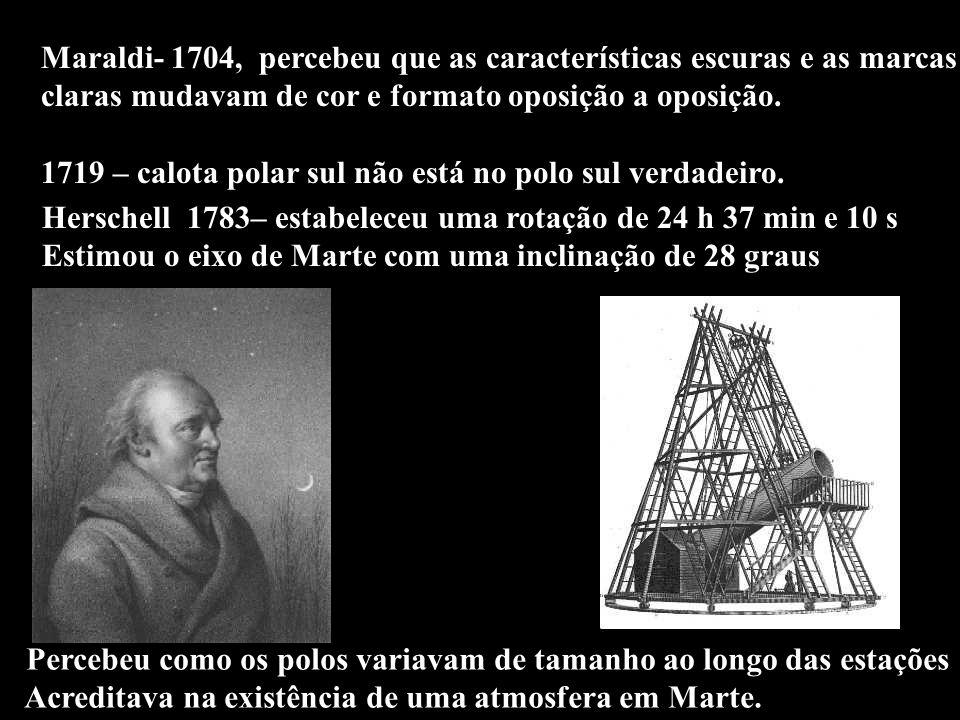 Maraldi- 1704, percebeu que as características escuras e as marcas