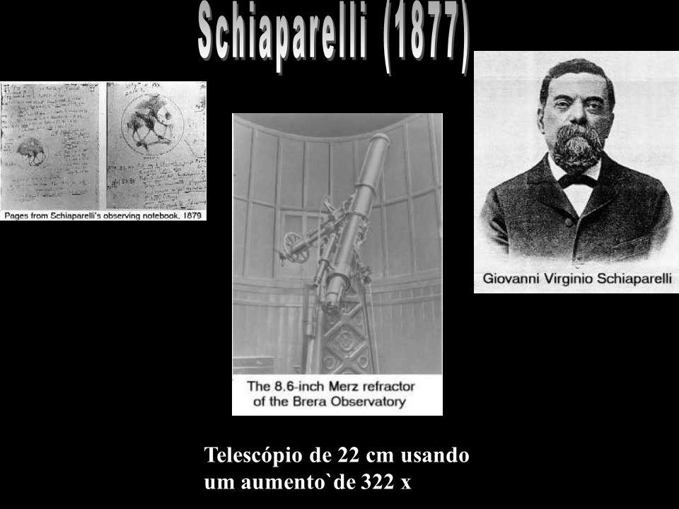 Schiaparelli (1877) Telescópio de 22 cm usando um aumento`de 322 x