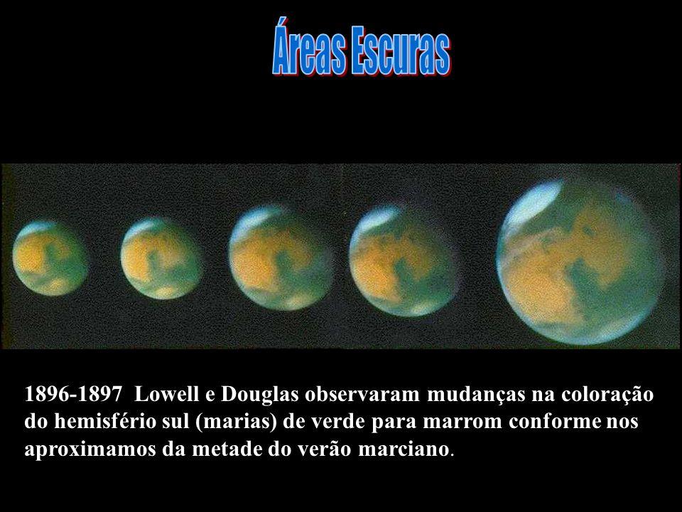 Áreas Escuras 1896-1897 Lowell e Douglas observaram mudanças na coloração. do hemisfério sul (marias) de verde para marrom conforme nos.