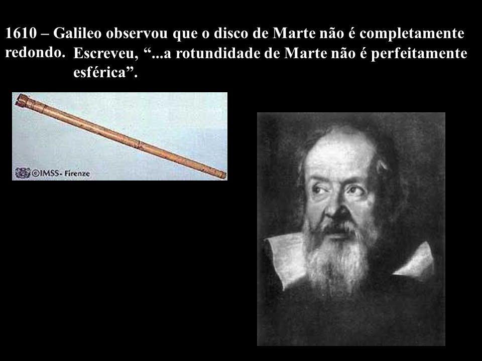 1610 – Galileo observou que o disco de Marte não é completamente