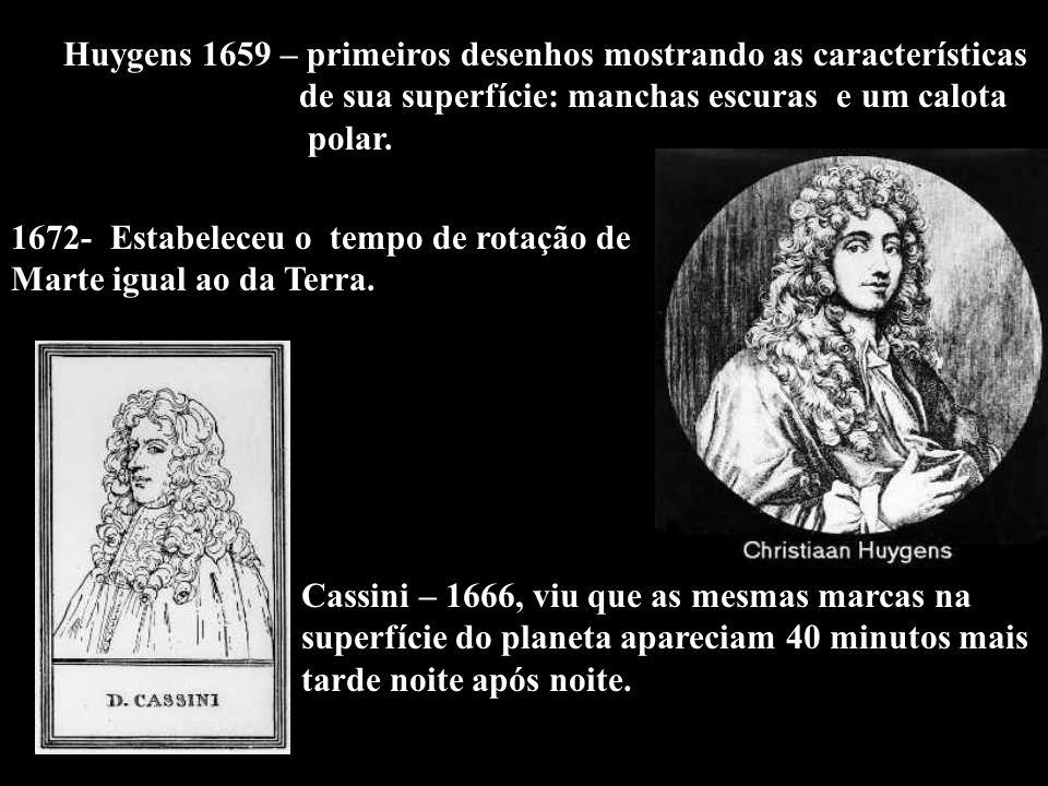Huygens 1659 – primeiros desenhos mostrando as características