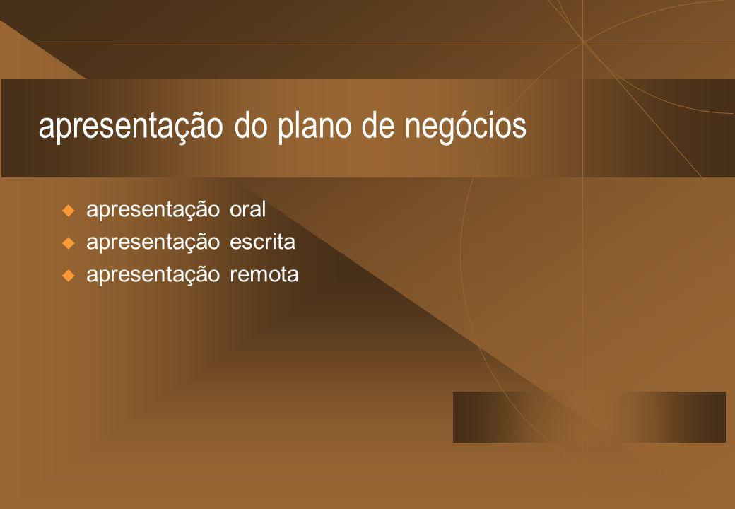 apresentação do plano de negócios