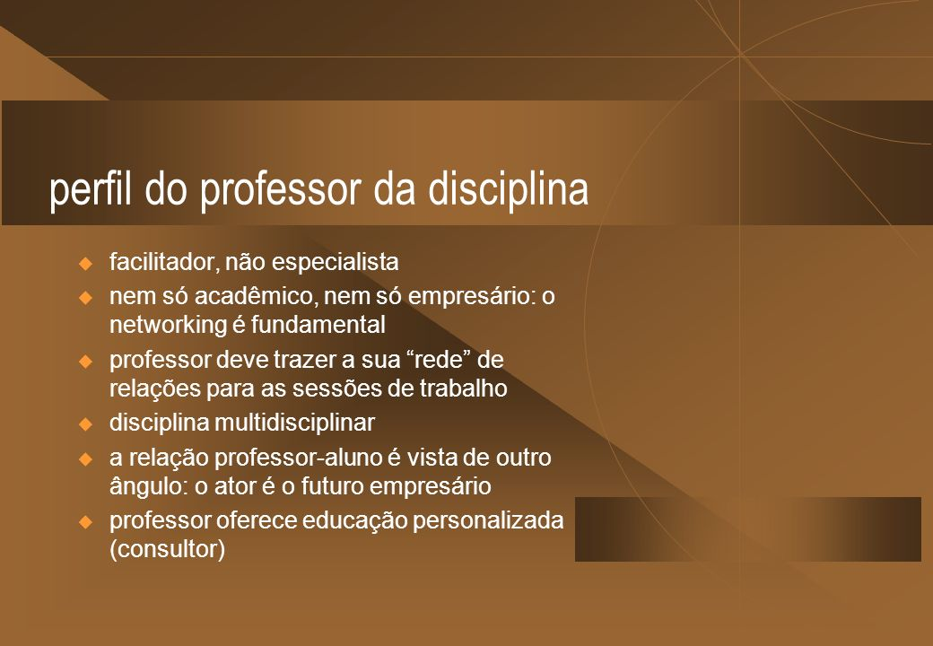 perfil do professor da disciplina