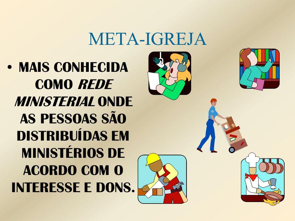 META-IGREJAMAIS CONHECIDA COMO REDE MINISTERIAL ONDE AS PESSOAS SÃO DISTRIBUÍDAS EM MINISTÉRIOS DE ACORDO COM O INTERESSE E DONS.