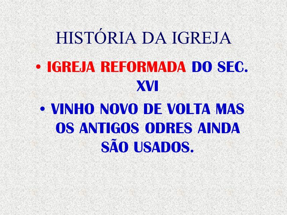 HISTÓRIA DA IGREJA IGREJA REFORMADA DO SEC. XVI