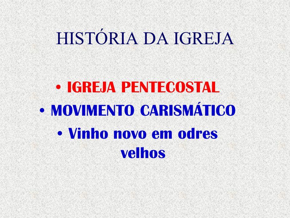 HISTÓRIA DA IGREJA IGREJA PENTECOSTAL MOVIMENTO CARISMÁTICO