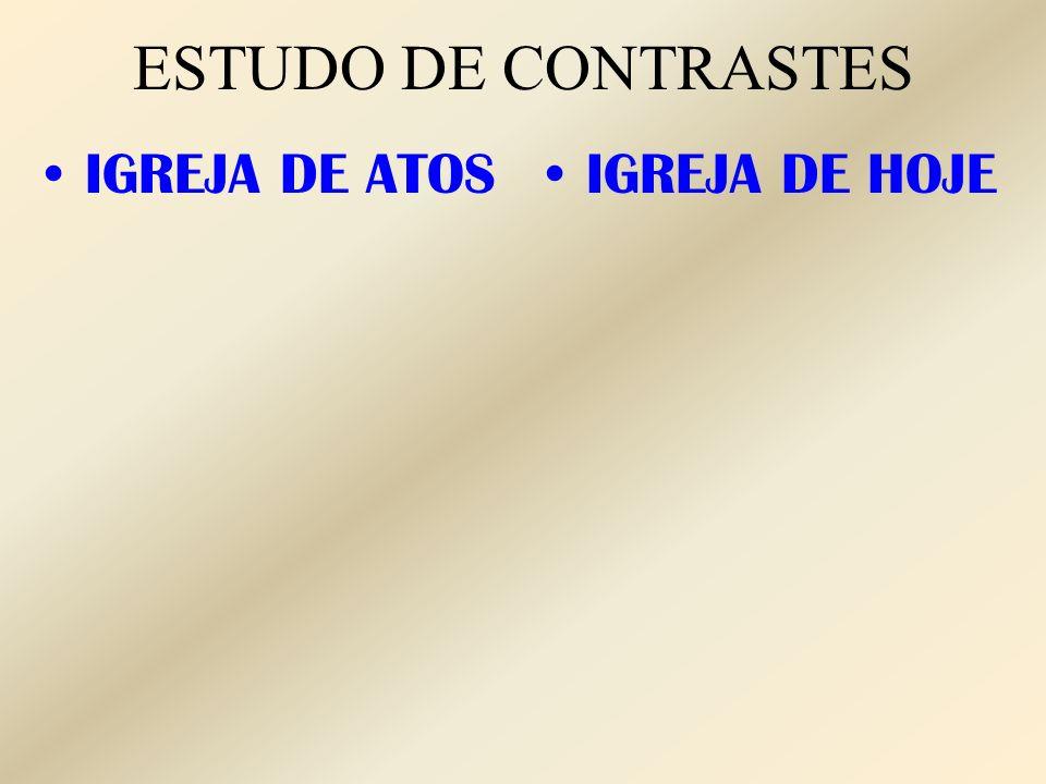 ESTUDO DE CONTRASTES IGREJA DE ATOS IGREJA DE HOJE