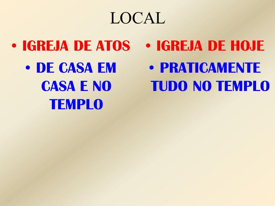 LOCAL IGREJA DE ATOS DE CASA EM CASA E NO TEMPLO IGREJA DE HOJE