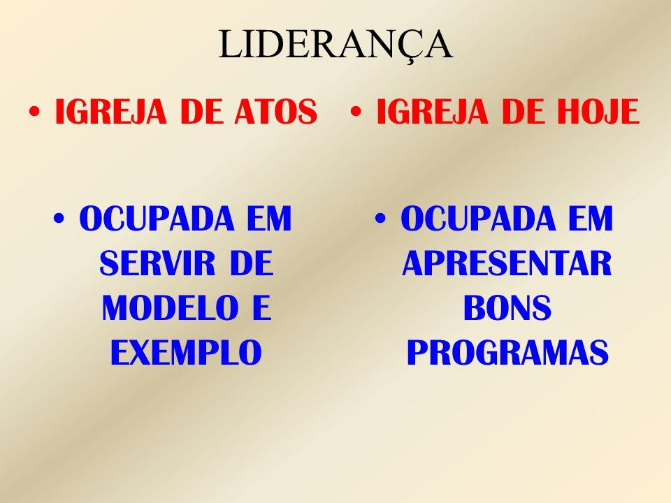 LIDERANÇA IGREJA DE ATOS OCUPADA EM SERVIR DE MODELO E EXEMPLO
